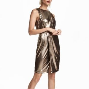 H&M gold shimmering metallic party dress size 6